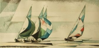 Ric pencil signed 'Cubist sailboats' 1960's